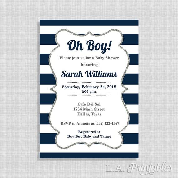 Navy White Stripe Baby Shower Invitation Oh Boy Invite Etsy