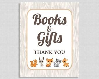 Books & Gifts Shower Sign, Woodland Animals Baby Shower Sign, Gender Neutral,  INSTANT PRINTABLE