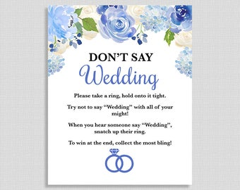 Don't Say Wedding Shower Game Sign, Blue Watercolor Floral Bridal Shower Game, INSTANT PRINTABLE