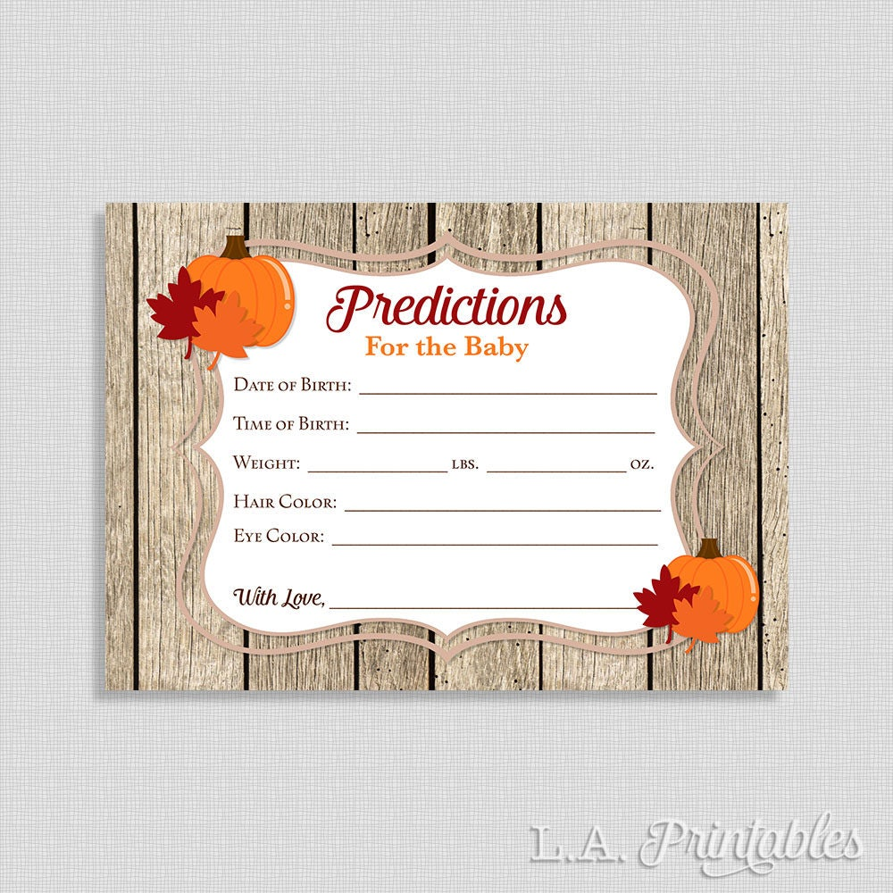 Predictions For The Baby Shower Game Cards Pumpkin Autumn Etsy