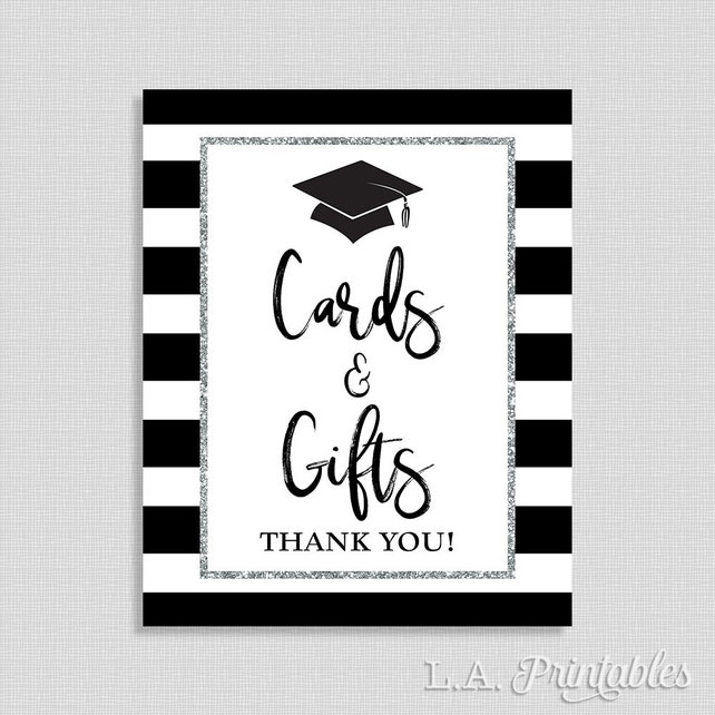 Cards Gifts Graduation Party Sign Black And Silver Striped Grad