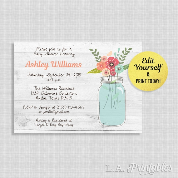 Editable mason jar baby shower invitation rustic baby shower etsy image 0 filmwisefo