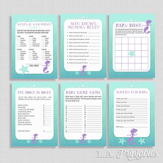 Mermaid Baby Shower Games Package Six Baby Girl Shower Games Etsy