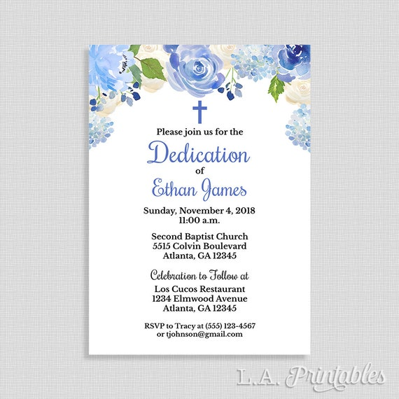 Blue Baby Dedication Invitation Baby Boy Dedication Invite Etsy