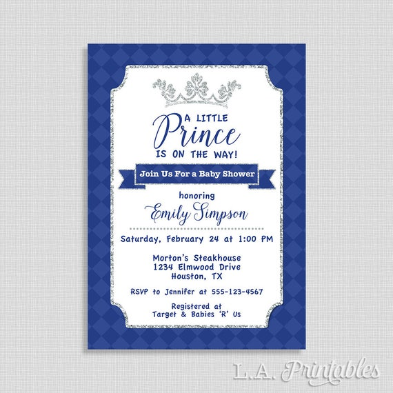 little prince invitation royal blue and silver invite baby etsy