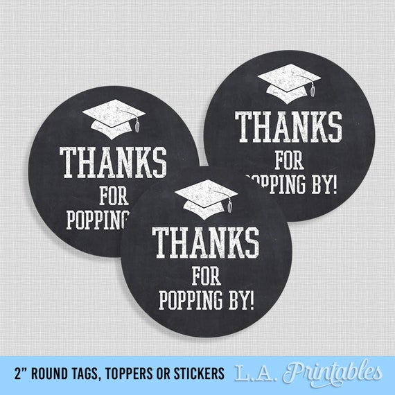 Birthday Thanks for POPPING By popcorn Chalkboard Stickers Sweet 16 Label
