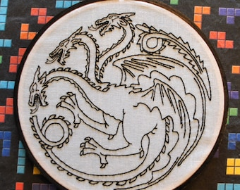 """Fire and Blood - House Targaryen Dragon Sigil - Game of Thrones Inspired -  6"""" Hand Embroidery"""