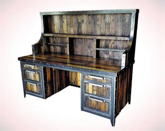 Industrial Reclaimed Wood Desk With Hutch U2022 Reclaimed Wood And Steel U2022  Rustic Furniture U2022 #058ST