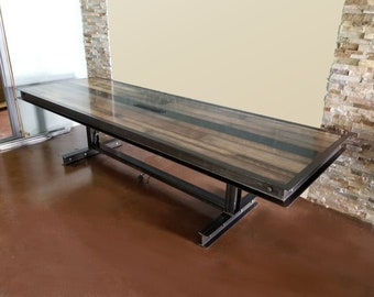 industrial wood furniture vintage industrial steel and reclaimed wood conference table 064 furniture furniture etsy