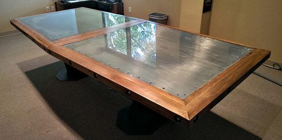 Steel Beam Reclaimed Wood Boardroom Table Etsy - Reclaimed wood boardroom table