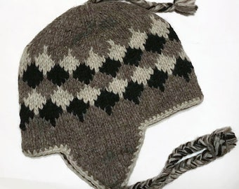 wool hat  Himalayan Hand Knit Wool Winter Hat  Unisex Traditional Peruvian  Style  100% New Zealand wool outer  ready 3d6a0b1a6537