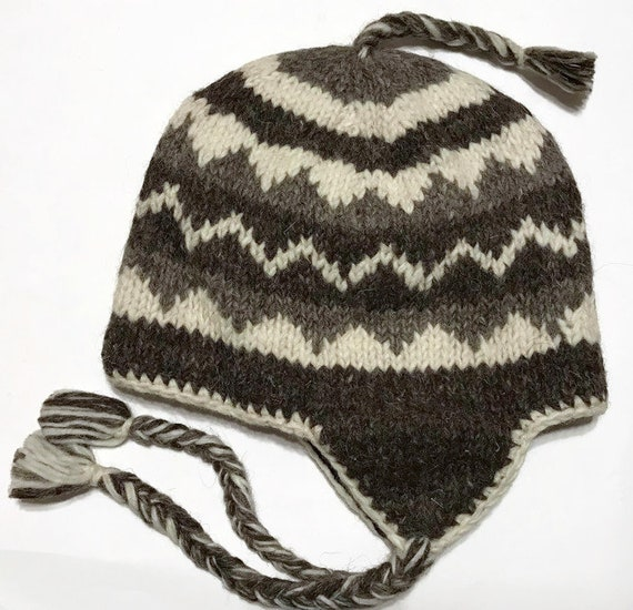 Wool hat  Himalayan Hand Knit Wool Winter Hat  Unisex  9ce27097f78