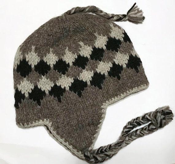 wool hat  Himalayan Hand Knit Wool Winter Hat  Unisex  bbad172ac7c