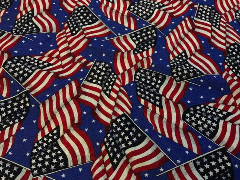 6924af9d5fb Vintage Novelty American Flags Fabric 44 by 106 inches just