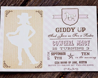 Cowgirl Birthday Invitation- Printable