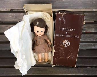 Vintage Brownie Doll - Uneeda Brownie Doll - Official 8 Inch Brownie Scout Doll