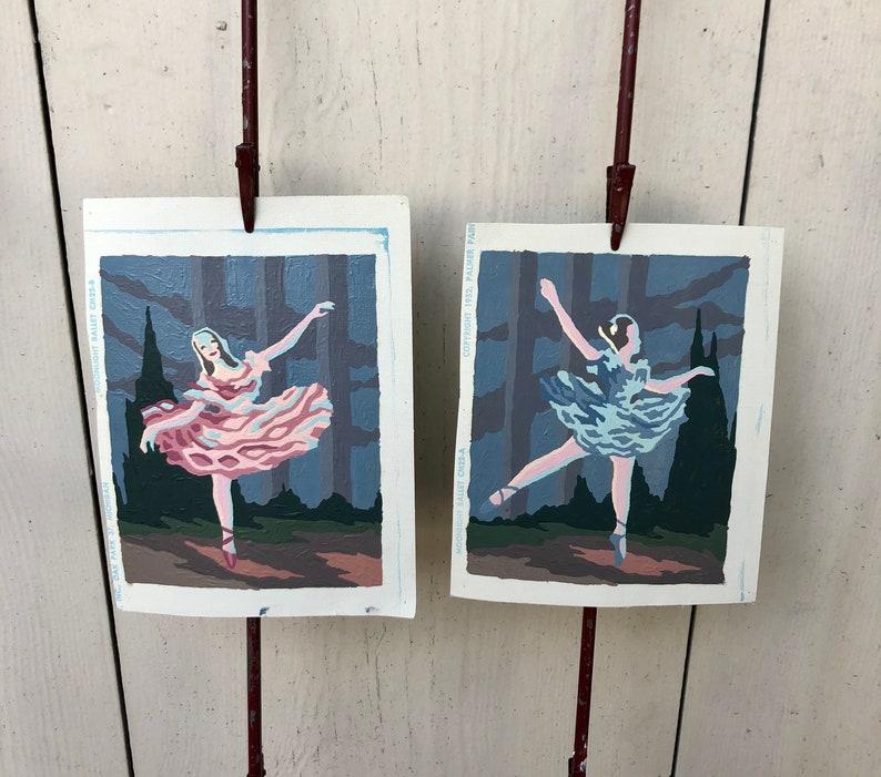 Vintage Paint By Number Ballerina Moonlight Ballet Pbn Ballet Dancers Miniature Pbns Set Of Two Palmer Paint 1950s