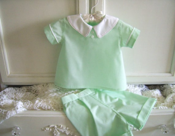 Vintage Style Reclaimed Textiles Christening Peter Rabbit Shirt and Shorts size 18 to 24 months Wedding