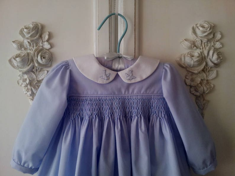9563e74ec14 Blue Smocked Baby Easter Dress With Bluebird Collar Size 6 to