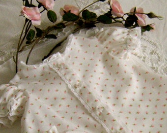 Newborn Rosebud Baby Dress and Panties, Old Fashioned Styling With Sweet Pink Rosebuds and French Lace