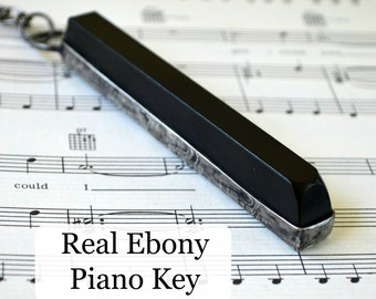 Piano Key Necklace,  Real Ebony Piano Necklace, Gift for Musician or Music Teacher, Piano Jewelry, Music Necklace, Gift for Piano Player