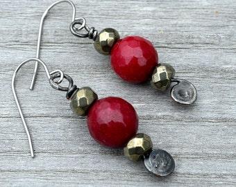 Boho Style Red Earrings, Red Jade & Pyrite Bead Earrings, Boho Chic, Faceted Red Beads, Red Dangle Earrings, Red Drop Earrings  (2718)