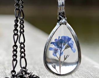 Forget Me Not Flower Necklace, Real Dry Pressed Forget Me Nots, Handmade Flower Necklace, ForgetMeNot, Blue Flower Necklace, Teardrop 2783