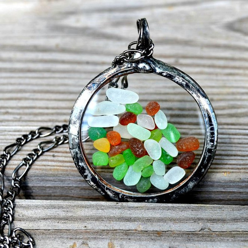 9452362cb114 Beach Glass Jewelry or Sea Glass Jewelry Pocket Watch