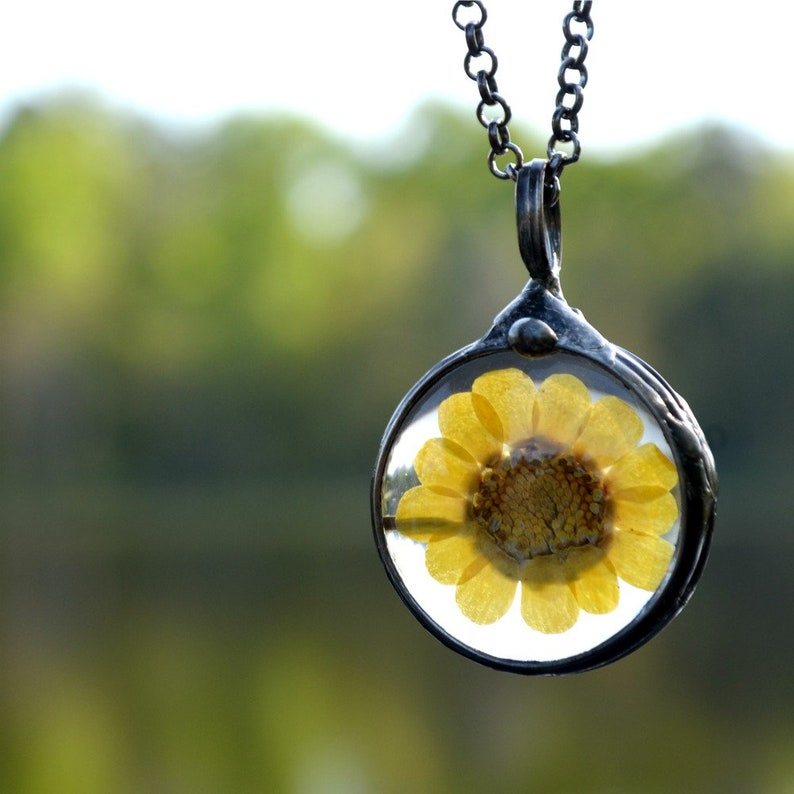 8f8f7f1c3df8c Real Wildflower Pendant, Flower Pressed Jewelry, Yellow Sunflower, Pressed  Wildflower, Real Flower, Necklace for Woman, Yellow Flower 2543