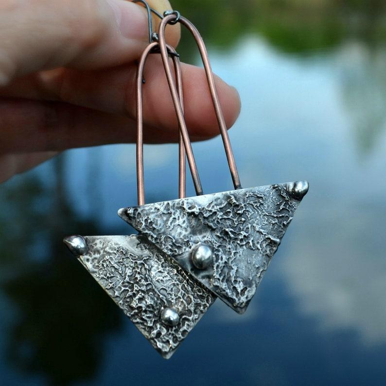 Handmade Mixed Metal Copper Earrings Long Boho Earrings for Women Oxidized Sterling Silver Ear Wires Statement Dangle Earrings 2806