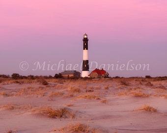 Evening Dusk at Fire Island Lighthouse Photograph Print 8x10