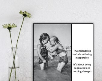 Magnet - True friendship isn't about being inseparable ... it's about being separated and nothing changes - Retro Friends