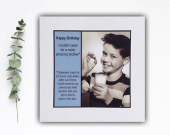 Funny Brother Birthday Card - I couldn't ask for a more amazing brother ... - Vintage Retro Humor Photo