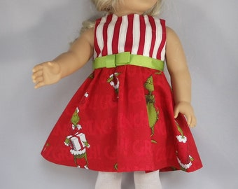 Reversible Pinafore with 2 Matching Bows and Reversible Vest That Fit American Girl 18 Dolls Red Doll Dress Set