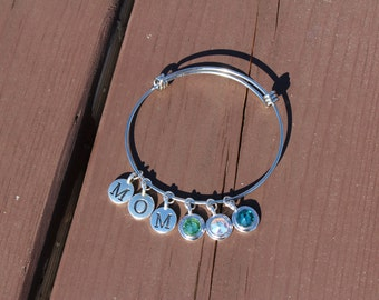 Mom and Three Swarovski Crystal Adjustable Bangle - Gifts for Her - Gifts for Mom - Mother's Day Gift