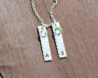 Two Hand Stamped Sterling Silver Initial Bar Necklace with Swarovski crystals - Gifts for Her - Gifts for Mom - Mother's Day