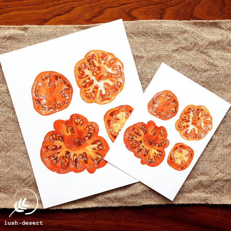 Watercolor Painting Vegan Art Sliced Tomato Art Print Gardening Gift Kitchen Decor Wall Art Housewarming