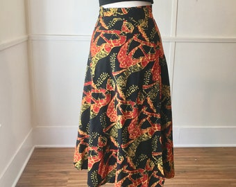 ccfc656f08e3a Vintage 70's Cotton Batik Wrap Skirt / Size Medium / Tikki Oasis / Hawaiian  / Beach Cover Up / Swim