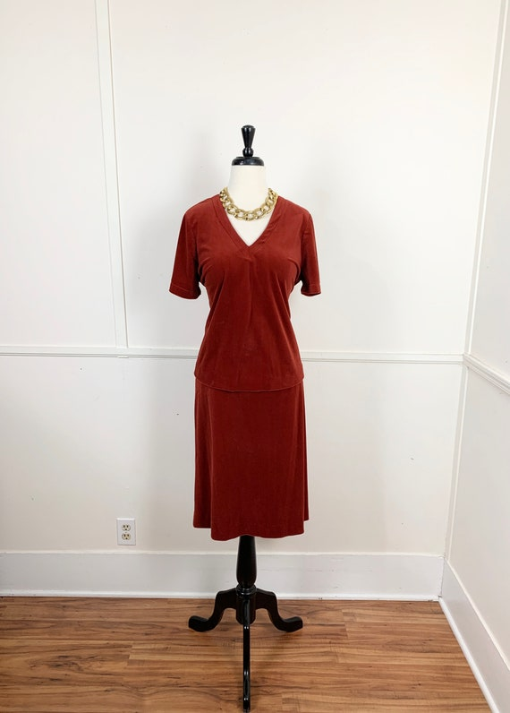 Curvy- 1970's Vintage Rust Velour Top and Skirt Se