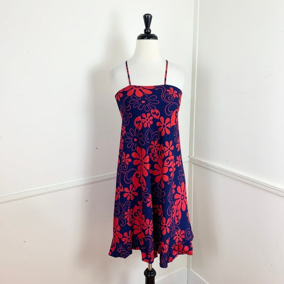 70s Psychedelic Button Front Lounge Dress Large XL  Vintage 1970s Loungewear Cotton Red Pink Purple Geometric Hippie