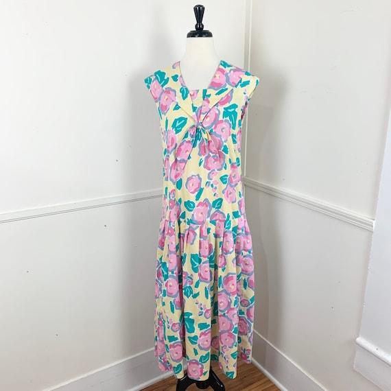 Curvy- 1980's Vintage Cotton Floral Day Dress   La