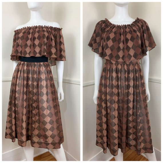Details about  /VTG Toni Todd Approx Size S Long Sleeve 70/'s Dress Ruffle Printed Cottage Core