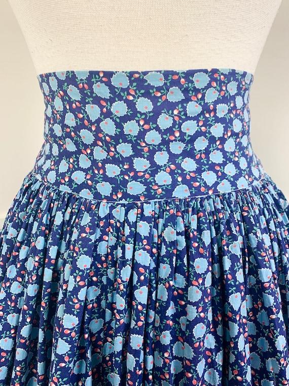 1970's Vintage Cotton Floral Maxi Skirt | High Wa… - image 2