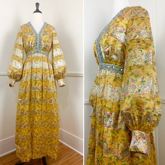 1970's Vintage Floral Lurex Maxi Gown with Sheer B