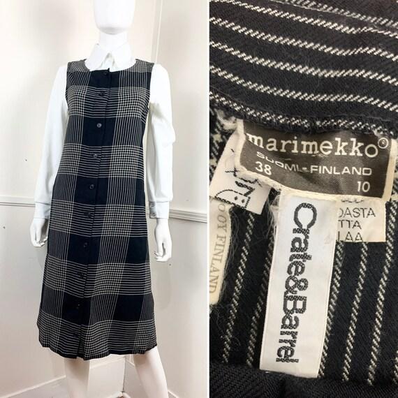 1980's Vintage Marimekko Wool Plaid Jumper Dress |