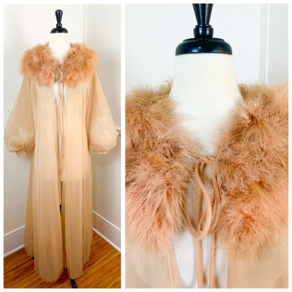 Mid Century Vintage Sheer Peignoir with Marabou Co