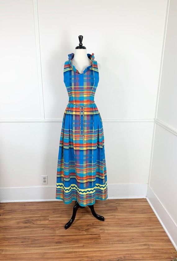 1970's Vintage Rainbow Plaid Maxi Dress | Made by