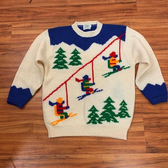 Curvy- 1980's Vintage Novelty Ski Sweater | Dorfit