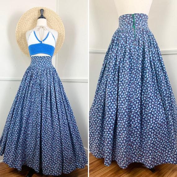 1970's Vintage Cotton Floral Maxi Skirt | High Wa… - image 1