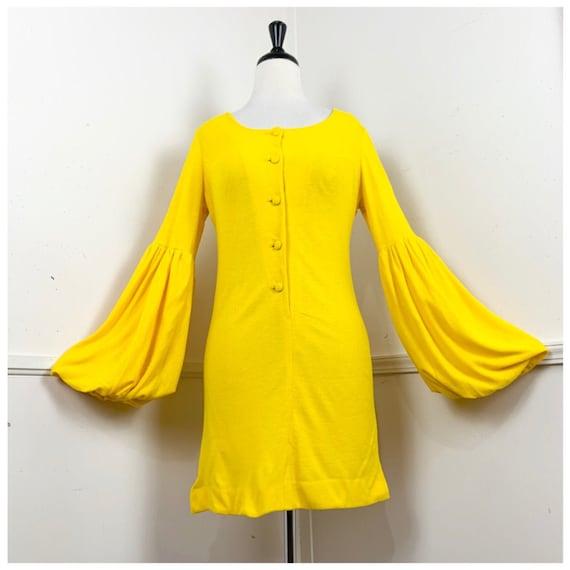 1960's Vintage Golden Yellow Mini Dress with Bisho